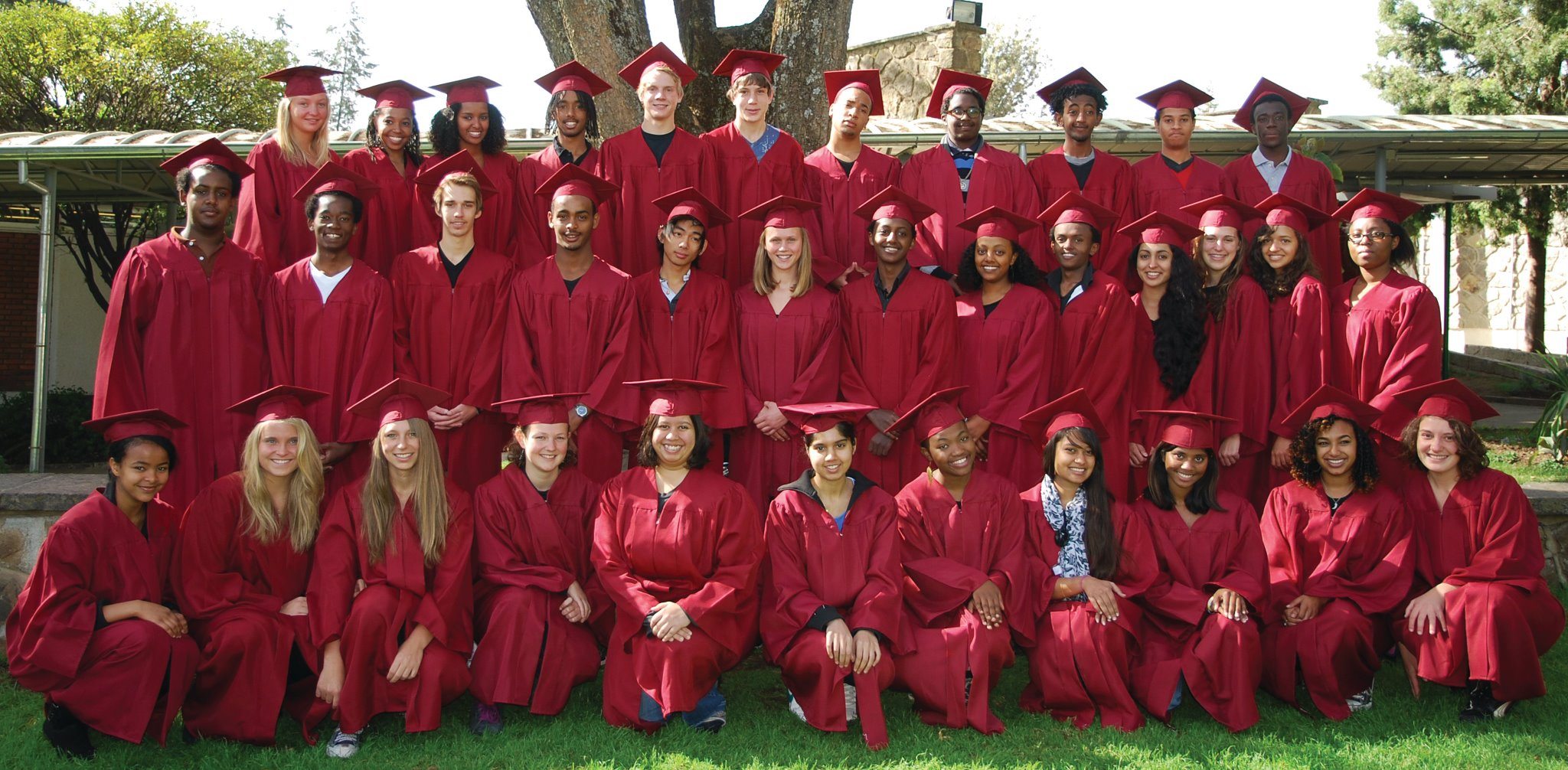 A photo of Yerro's high school graduation class before coming to York University.
