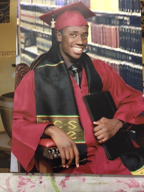 A high school graduation photo of Yerro, before coming to York University.