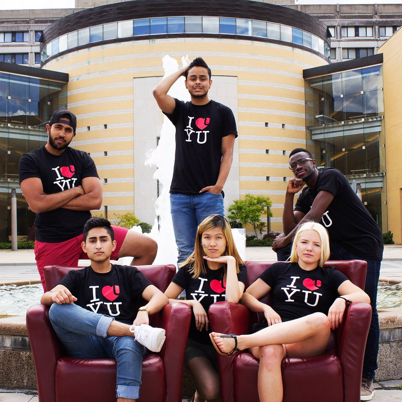 The RED Zone team posing for a photo in front of Vari Hall, York University.